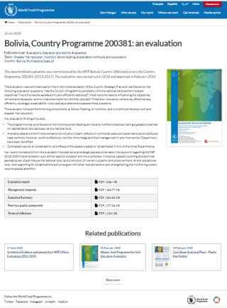 Bolivia, Country Programme 200381. An evaluation-website