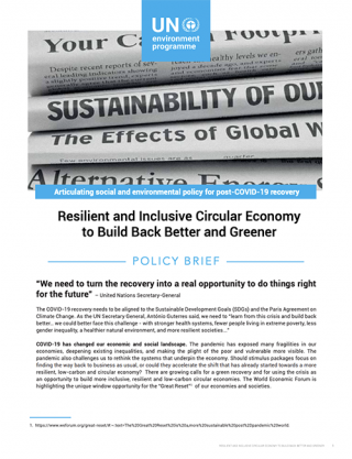 Cover Resilient and Inclusive Circular Economy to Build Back Better and Greener