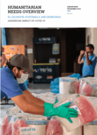 "Portada publicación ""Humanitarian Needs Overview El Salvador, Guatemala and Honduras, Addendum: Impact of COVID-19"""