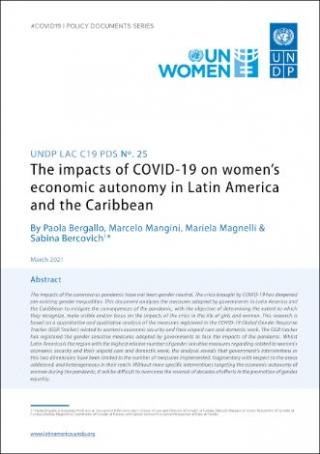 The impacts of COVID-19 on women's economic autonomy in Latin America and the Caribbean