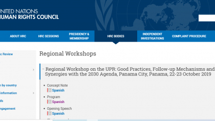 Regional Workshop on the UPR: Good Practices, Follow-up Mechanisms and Synergies with the 2030 Agenda, Panama City, Panama, 22-23 October 2019