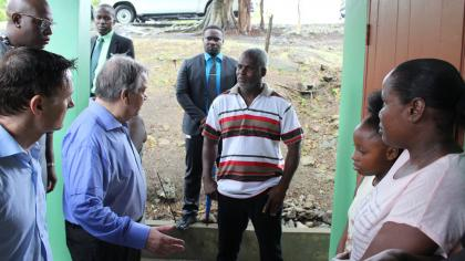 UN Secretary General Antonio Guterres and Resident Coordinator to Barbados and the OECS Didier Trebucq during visit to Praslin Bay, St. Lucia in July 2019