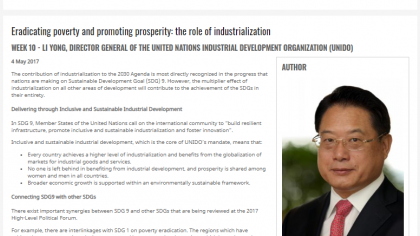 Eradicating poverty and promoting prosperity: the role of industrialization