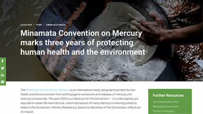 Screenshot Minamata Convention on Mercury marks three years of protecting human health and the environment