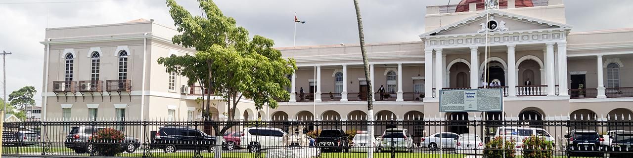 GEORGETOWN, GUYANA - AUGUST 10, 2015: Building of the Parliament in Georgetown, capital of Guyana.