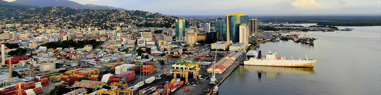 Aerial view of Port of Spain / Trinidad and Tobago, port, container terminal, government buildings